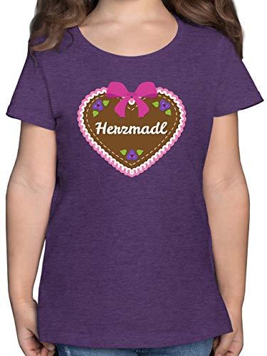 Oktoberfest & Wiesn Kind - Herzmadl Lebkuchenherz Rosa - 116 (5/6 Jahre) - Lila Meliert - Lebkuchenherz - F131K - Mädchen Kinder T-Shirt