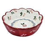 LILICEN 6 Pulgadas Pasta Bowl cerámica roja del cordón Ensalada Postre del pudín de los Alimentos for niños Suplemento Retro Menaje del hogar