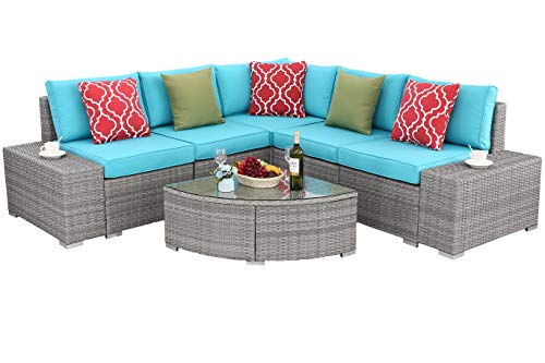 Do4U 6 PCs Outdoor Patio PE Rattan Wicker Sofa Sectional Furniture Set Conversation Set- Thick Seat Cushions & Glass Coffee Table| Patio, Backyard, Pool| Steel Frame (Turquoise)