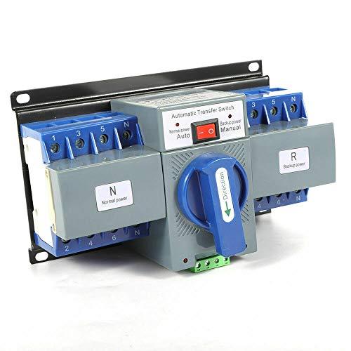Futchoy Conmutador automático 2/4P, 6-63 A, Dual Power, conmutador de transferencia automático, 220 V, CA, 50 Hz, nivel CB automático, M6,2S, tiempo de conversión (4P/63A)