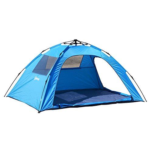 Outsunny Campingzelt Sekundenzelt Pop Up Zelt Automatik 2 Personen wasserdicht Blau L223 x B150 x H110cm