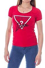 Guess Camiseta Rojo de Manga Corta para Mujer