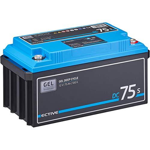 ECTIVE 75Ah 12V GEL Versorgungsbatterie DC 75s mit LCD-Display Solar-Batterie mit integrierten Nachfüllpacks