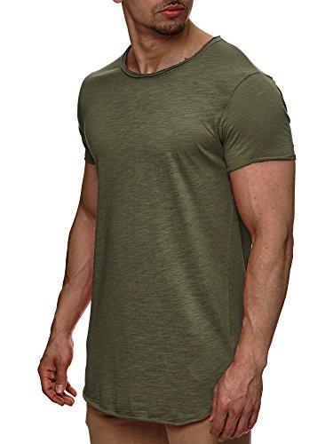 Indicode Herren Willbur Tee T-Shirt mit Rundhals-Ausschnitt aus 100% Baumwolle | Regular Fit Kurzarm Shirt einfarbig od. Kontrast Markenshirt in 30 Farben S-3XL für Männer Army M