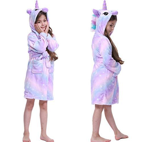 Coralup Kinder-Bademantel für Mädchen, Morgenmantel, Nachthemd, Fleece, bequem, Flanell, weich, mit Kapuze, bunt, 2–11 Jahre Gr. 3-4 Jahre, violett