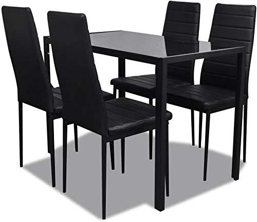 ANGEELEE 5 PiezasComedor con 4 sillas de Comedor.Mesa de Comedor Juego de sillas de Comedor Muebles de Cocina Grupo de Asientos Grupo de Comedor black-of-06