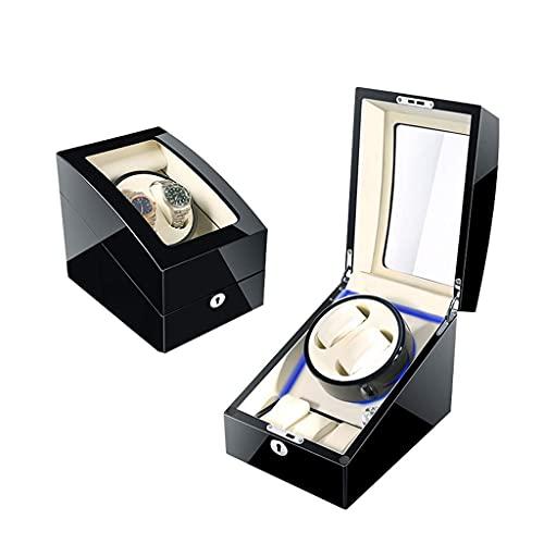 hyywmgx Bobinador automático del reloj, caja, 5 modos de rotación con motor silencioso, caja de exhibición de almacenamiento de Shell es de madera