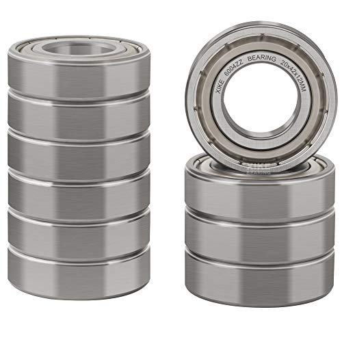 XiKe 10 Pcs 6004ZZ Double Metal Seal Bearings 20x42x12mm, Pre-Lubricated and Stable Performance and Cost Effective, Deep Groove Ball Bearings.