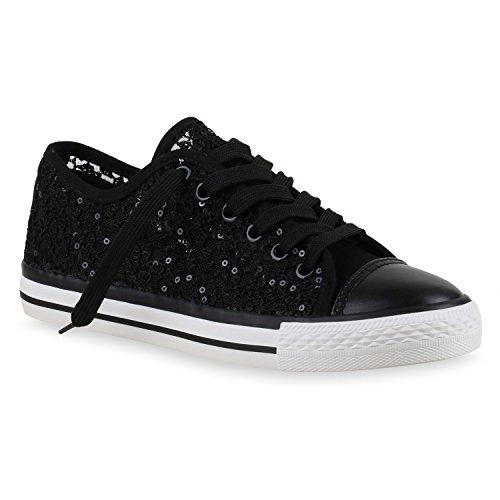 stiefelparadies Damen Sneakers Pailletten Spitze Häkeloptik Turn Sport Freizeit Sneaker Low Flats Schuhe 131377 Schwarz 36 Flandell
