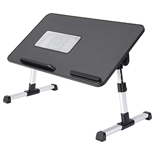 Shwuka Portable Laptop Small Table with Fan, Folding Bed Table, Stand Adjustable Bed Tray Book Stand, Bed Laptopstrays, Small Table, Lap Desks, Home Office Study Table