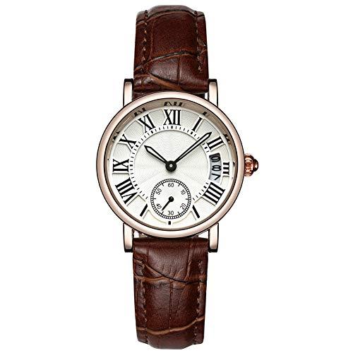 yuyte Relojes de Cuarzo para Mujer, Reloj de Pulsera clásico de señora Analog Round Quartz, Correa de Cuero, Fecha(#05)