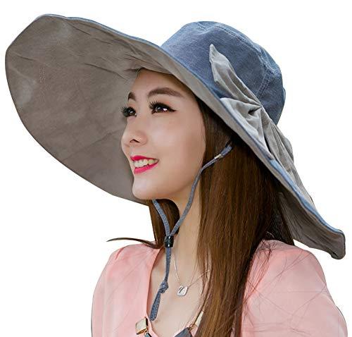 Women's Sun Hat Packable Reversible Bucket Hat UV Sun Protection Wide Brim Summer Beach Cap (A-Cotton Linen Denim Blue)