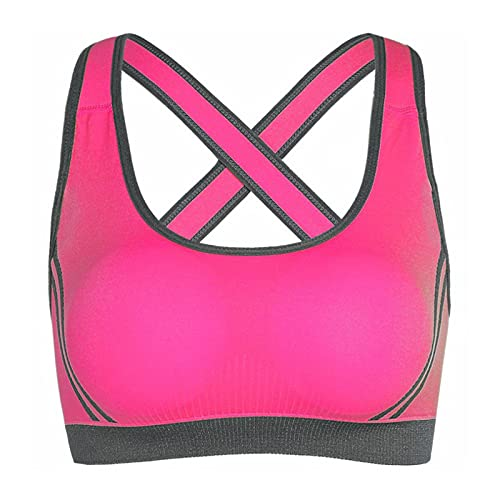 Sujetador de Yoga Mujeres Top Top Sexy Cross Back Shockpoof Running Gym Chalt Push Up Brassiere 722 (Color : Rose Red, Size : L)