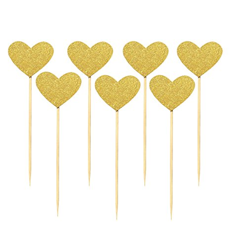 Babycola's Mum 40PCS Best Heart Cupcake Toppers, Gold Glitter Heart Large Cupcake Toppers, Cake Decorations Toppers Picks for Wedding and Baby Birthday
