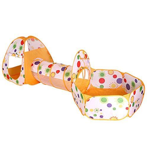 Kalavika Casa de Juego Pop Up Tienda Campaña Infantil, 3 en 1 Túnel de Juego Infantil, Piscina con Cesta de Baloncesto, Casita de Juegos, Parque de Juegos de Cubby Plegable para Niños Color Amarillo
