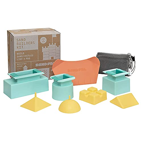 Sand Pal Beach Sand Toys Kit - Kids Sandbox, Snow & Kinetic Sand Castle Kit - 9 Pieces Toy Set for Outdoor Play - Construction Building Shape Molds and Tools Set for Toddlers, Adults - With Mesh Bag