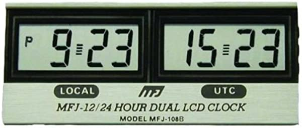 MFJ 108B Clock 12 24 Hour LCD Dual