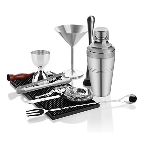Juego de Coctelera Conjunto de cóctel con Bar Mat, Barman Mixing Tool Kit, Bar Premium Cocktail Set Shaker Set, Mejores Ideas de Regalos for él (Color : Silver, Size : 550ML)