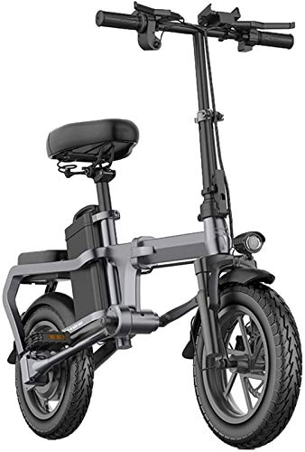 Electric Bike Electric Mountain Bike, Folding Electric Bikes for Adults Aluminum Alloy 14In City E-Bike with 48V Removable Large Capacity Lithium-Ion Battery Without Chain Lightweight Mini Electric Bi