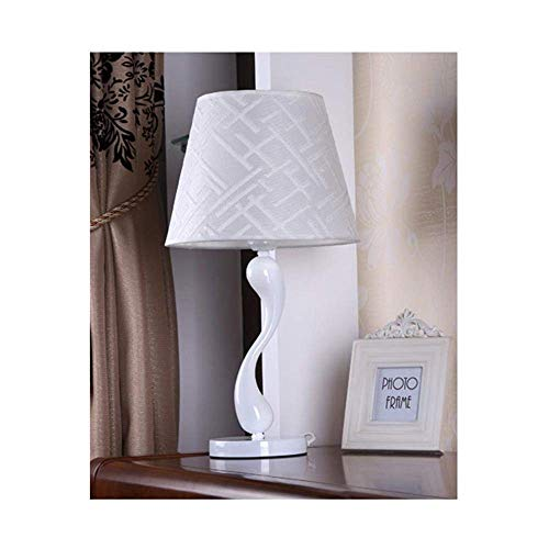 DEJ moderne, Scandinavische, minimalistische, artistieke, abstracte led-bureaulamp, led-nachtlampje met het porseleinen lampenkap, stoflampenkap, dimschakelaar voor slaapkamer
