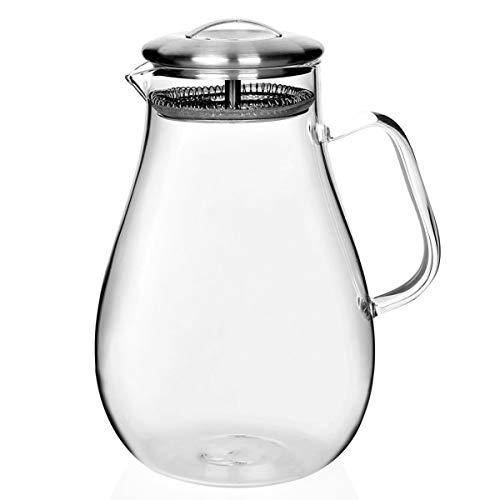 Jksdp 1Pcs 1650Ml 1800 ml 2000ml hitzebeständiges Glas Kalter Kessel Hand Blown Krug Transparente Glas Teekanne EMS, 2000ml