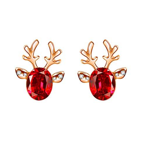 HHoo88 Women Girls Xmas Earrings Antler Deer Earpin Boho Ear Crawler Wrap Earring Bohemian Christmas Jewelry Gift Red