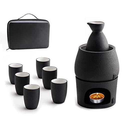 Lyty Sake-Set-Tassen mit wärmerer Aufbewahrungsbox, Japanisches Keramik-Heißgetränk, 9 Stück inkl. Herd, Wärmeschale, Sake-Flasche für 6 Tassen