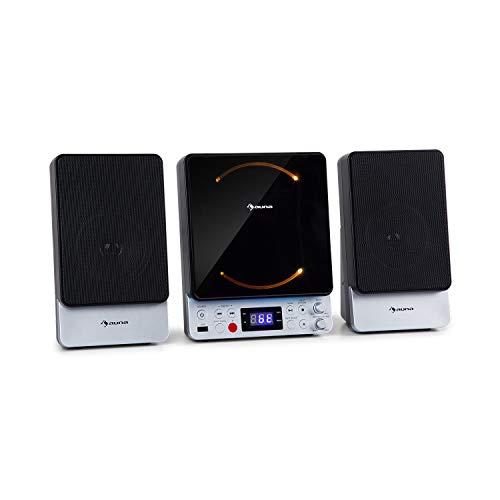 AUNA Microstar - Micro-chaîne Verticale, Lecteur CD, Bluetooth, Enceintes stéréo, Port USB, Tuner FM, AUX-in, écran LCD, éclairage d ambiance, Installation Murale ou Pose Libre - Gris