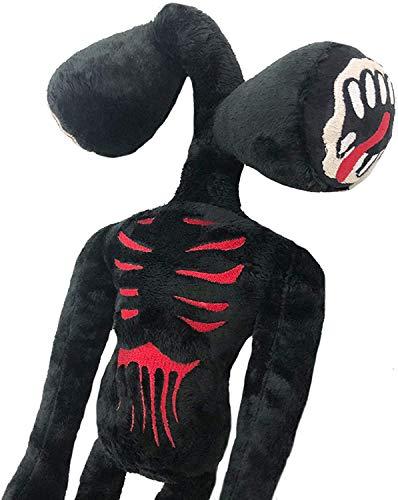 Zhongkaihua Sirena cabeza de peluche juguete 30 cm negro sirena cabeza de peluche terror sirena relleno cabeza Plushie figura regalo para niños niños