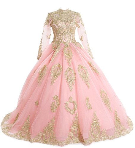 LEJY Women's Muslim Wedding Dresses High Neck Applique Long Sleeves Ball  Gowns Pink-6 | WantItAll