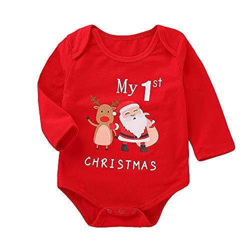Homebaby - Bambino Ragazzo Delle Neonate Stampa Natalizia Pagliaccetto Tuta Abiti Da Pigiama Costume Di Natale Abbigliamento Invernali Regalo Bambini
