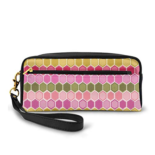 Pencil Case Pen Bag Pouch Stationary,Abstract Cute Cells from Hexagon Shapes in Sweet Colors with Polka Dots,Small Makeup Bag Coin Purse