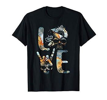 LOVE - Death Grim Reaper Skull Tattoo Sunflower Art Gift T-Shirt