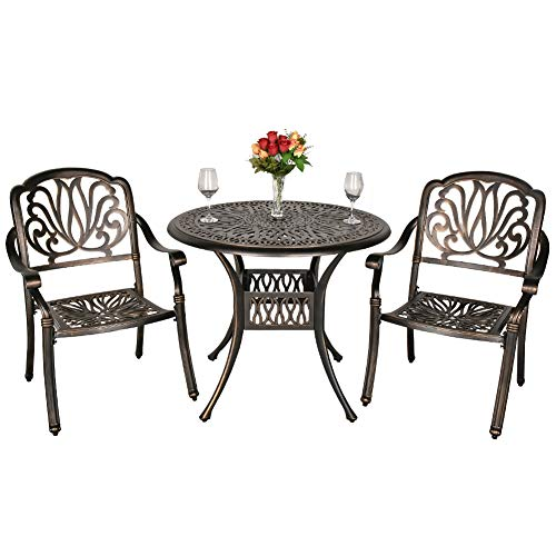 Action club Patio Bistro 3-Piece Cast Aluminum Dining Set Outdoor Furniture All-Weather Conversation Umbrella Hole Table and Chairs Set (1 Table + 2 Chairs)