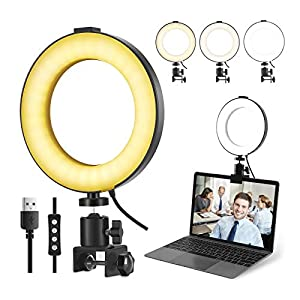 6'' Laptop Ring Light with Clamp, Video Conference Led Lighting Kit, 10 Brightness Level Led Desktop Light for Remote Meeting,YouTube Video, Selfie, Makeup, Live Streaming,Business Video Call