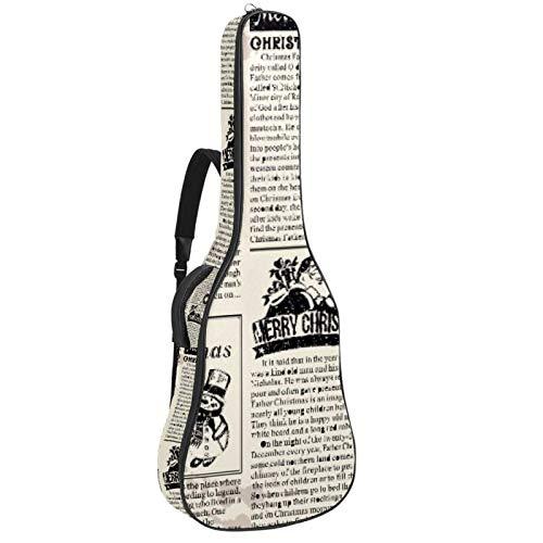 Bolsa para guitarra de corte de periódico, impermeable, tela Oxford, funda para guitarra con correa ajustable para el hombro