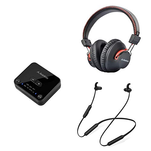 Avantree HT4186 & Audition, Wireless Headphones Earbuds for TV Watching, Over Ear Headphones & Neckband Earphones Hearing Set w/Bluetooth Transmitter for Optical Digital Audio, RCA, 3.5mm Aux Ported