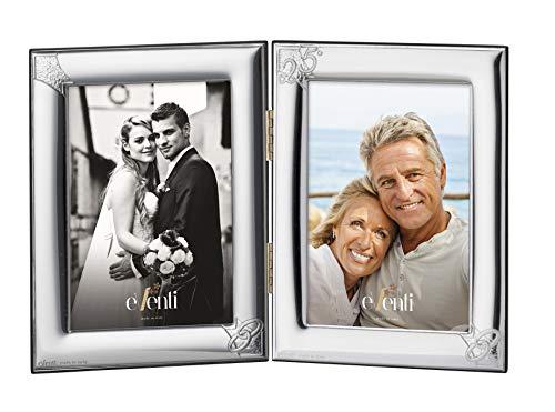 El Faro Doppelter Bilderrahmen für Hochzeiten, Silberfarben, 9 x 13 cm