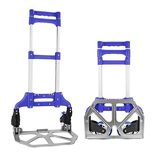 ZMAYASTAR キャリーカート 折りたたみ式アルミキャリーカート 滑り止め付 2輪 耐荷重60kg 台車 旅行用品 便利グッズ 軽量 コンパクトな 折りたたみ式 荷台 101*38.8*39cm (ブルー) ZM-TC-008
