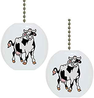 Set of 2 Cow Farm Animal Solid Ceramic Fan Pulls