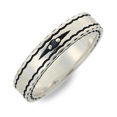 [セインツ] シルバー リング 指輪 ダイヤモンド ブラック 17.0号 SSR10-98BD-17