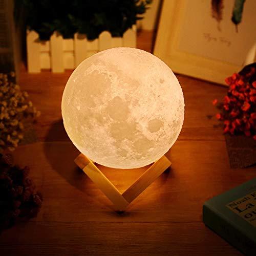 Uten AGM 3D Moon Night Light Touch sensore Tavolo, dimmerabile LED Che Cambia Colore Lampada da Comodino del Bambino (Large/15cm), Giallo, 15cm