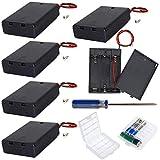 GTIWUNG 電池ボックス 電池ホルダー 電池収納ボックス リード線つき バッテリーケース 3 X 1.5V AA スイッチ カバー 電源スイッチ付き 6個入り