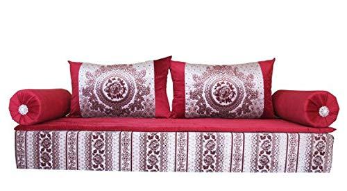 Sofá marroquí oriental, gris y rojo
