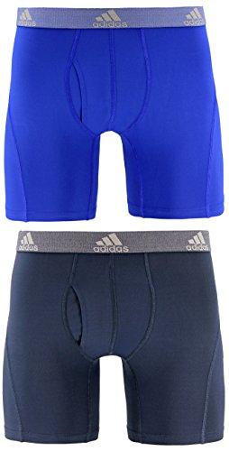 adidas Men's Relaxed Performance Climalite Boxer Brief Underwear (2-Pack), Bold Blue Urban Sky, MEDIUM