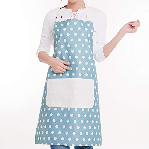 LYDCX Prinzessin Schürze Europäische Schürze Küche wasserdichte Overalls Damenkleider Erwachsenen Lätzchen Punkt Blau
