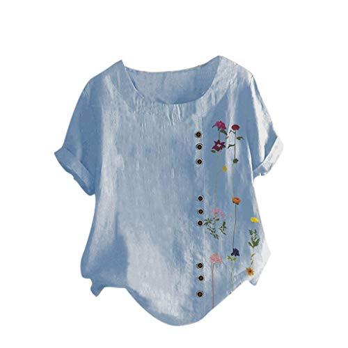 TAMALLU Women T-Shirt Comfortable Printed Elegant Short Sleeve Plus Size Irregular Tops(Blue,XL)