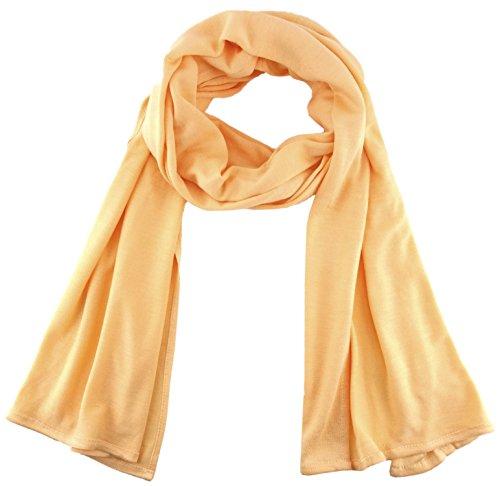 TigerTie - Schal in lachs hellorange einfarbig Uni - Größe 180 x 30 cm - 100% Viscose