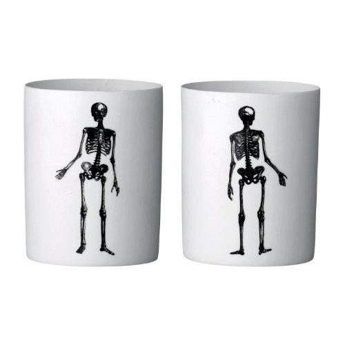 Bloomingville Teelichthalter Kerzenleuchter Skelett Bisquit Porzellan 2er Set Sortiert