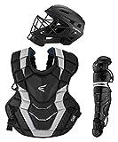 EASTON ELITE X Baseball Catchers Equipment Box Set, Intermediate, Black, 2021, Large Helmet, Chest Protector + Commotio Cordis Foam, Leg Guards, NOCSAE Approved All Player Levels